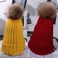 Nueva Llegada Mujeres de La Manera Caliente del Invierno Lindo Fuzzy Bola Gorro de Punto Tapa Ocasional Sombrero Del Ganchillo