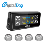 Solar Energy Car TPMS With 4 Sensors Tire Pressure Monitor Temperature Monitoring System Real Time Digital