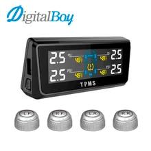 Solar Energy Car Monitor de Presión de Neumáticos TPMS Con 4 Sensores y Pantalla Digital en tiempo Real Del Sistema de Monitoreo de Temperatura de Alarma