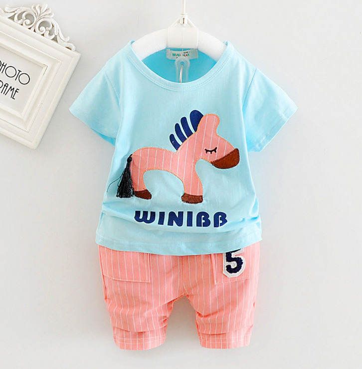 2018 Summer Striped Boys Girl Clothes Sets Short Sleeve Cotton T Shirt Sports Pants Cartoon Horse Kids Clothing Suit Tracksuit autumn baby girl boys clothes sets long sleeve kids sport suit cartoon cotton children clothing t shirt pants girls clothes sets