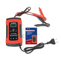 Foxsur 12V Universal Battery Charger Repair Type 12Ah 36Ah 45Ah 60Ah 100Ah Pulse Repair Battery Charger Lcd Display——Eu Plug Chargers     -