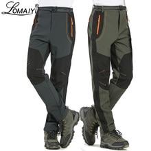 LOMAIYI 5XL мужские теплые зимние брюки, мужские брюки-карго с флисовой подкладкой, мужские водонепроницаемые брюки, мужские Стрейчевые повседневные рабочие брюки AM110
