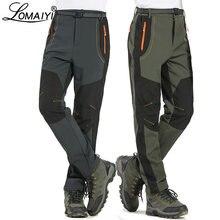 Lomaiyi 5xl calças de inverno quente dos homens forro de lã calças de carga dos homens à prova dwaterproof água calças masculinas estiramento casual trabalho am110