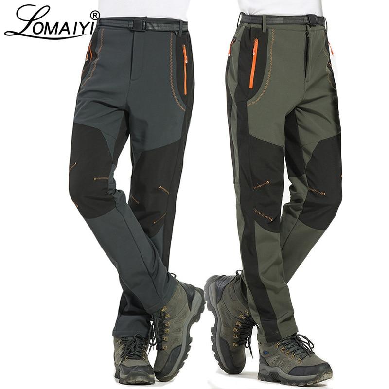 LOMAIYI 5XL ผู้ชายฤดูหนาวที่อบอุ่นกางเกงผู้ชายขนแกะซับกางเกงคาร์โก้บุรุษกางเกงกันน้ำชายยืดกางเกงทำงานสบาย ๆ AM110