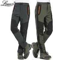 LOMAIYI 5XL męskie ciepłe spodnie zimowe mężczyźni podszycie polarowe spodnie Cargo wodoodporne spodnie męskie spodnie męskie  w stylu casual  biurowy spodnie AM110 na