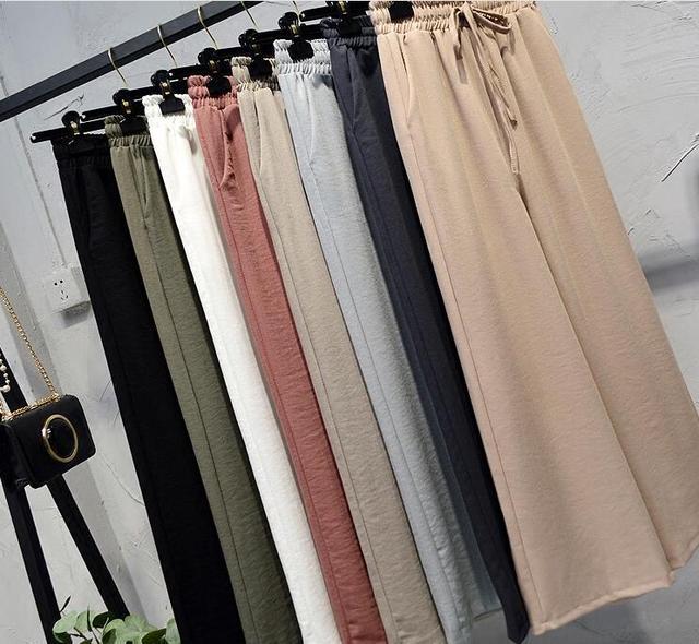 Летние штаны для повседневной носки Лен плиссе Эластичный Широкие штаны Для женщин Высокая Талия Свободные тонкий срез широкий диапазон брюки корейский брюки