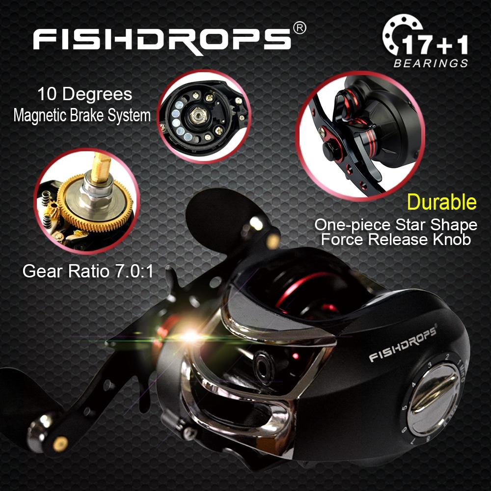 FISHDROPS Baitcasting Reel 18 Ball Bearings Carp Fishing Bass Fishing Left Right Hand 7 0 1