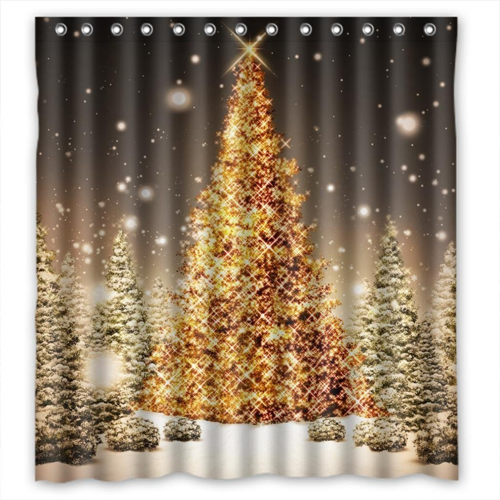 CHARMHOME Merry Christmas Shower Curtain Shining Gold Dressed Trees With Snow Scene Custom Fabric Doormat