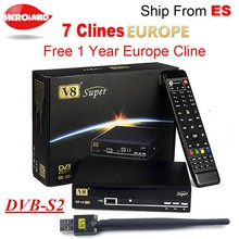 Freesat V8 Super DVB-S2 Satellite Receiver with 1 Year Europe Spain cline 4clines Full HD 1080P Portugal Germany Italy Polish TV