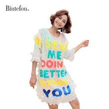 2019 Summer ruffle chic dresses women sequins patch designs butterfly sleeve