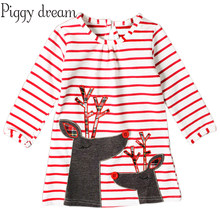a3444844948 Baby Girls Christmas Dresses For Girls Dress Deer Stripes Elk Long Sleeves  Dress Birthday Christmas Santa Claus Kids Costumes