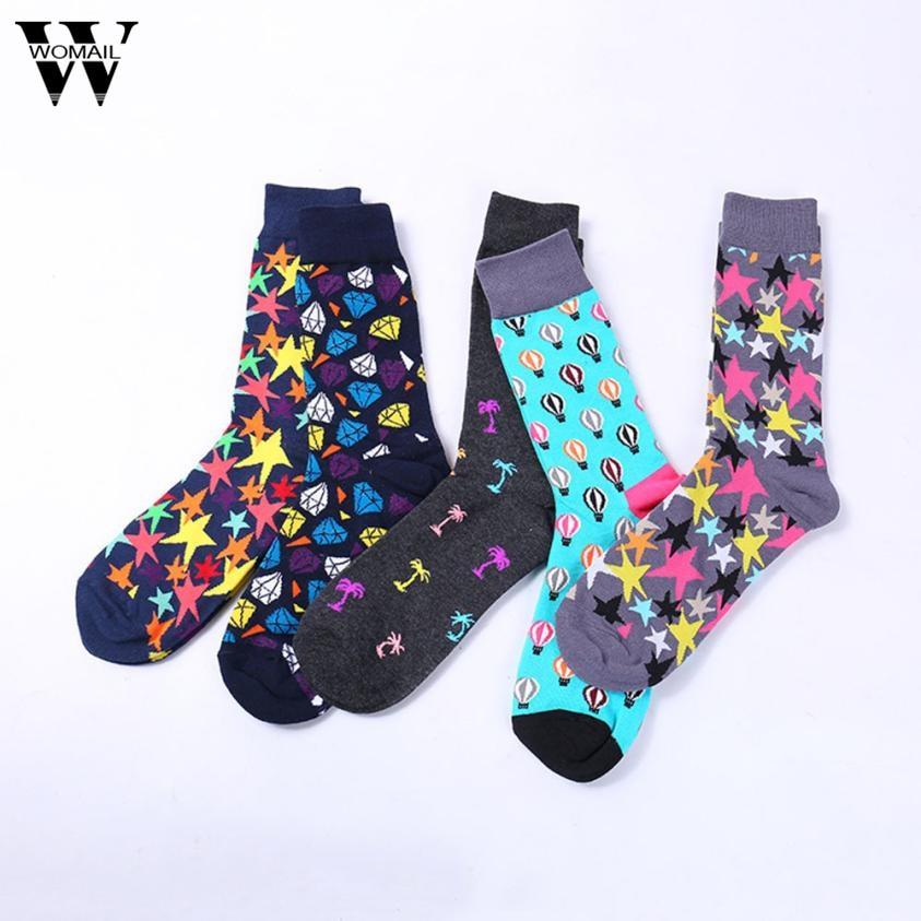 1Pair Mens Funny happy Socks Printed Cotton geometric Mid Socks Autumn Winter Casual Sock New