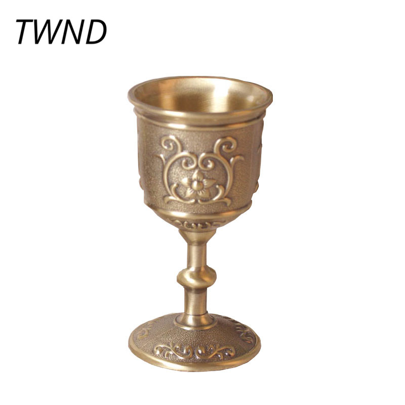 Vintage bronze goblet wine cups embossed carved mugs creative drinkware 2 styles taza de m&m