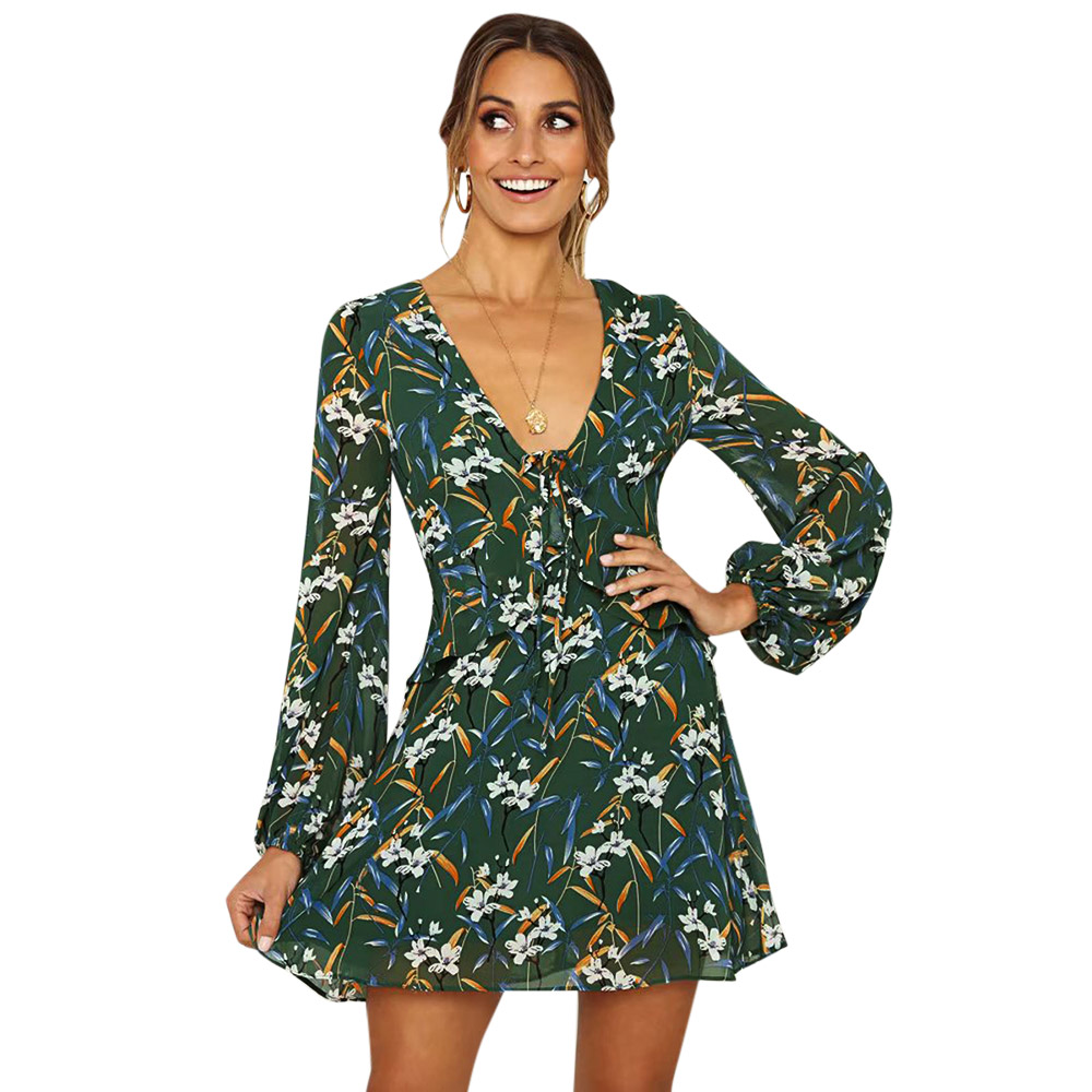 VESTLINDA Ladies Dresses Deep V Neck Long Sleeve Floral Print Women Tied  Mini Dress Autumn Spring Vestido De Festa A Line Dress-in Dresses from  Women s ... 4ae707543ceb