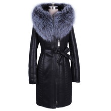 New Genuine Leather Jacket Women Sheepskin Hooded Long Parka Real Fox Fur Hooded With Belt Cashmere Winter Warm Coat For Ladies