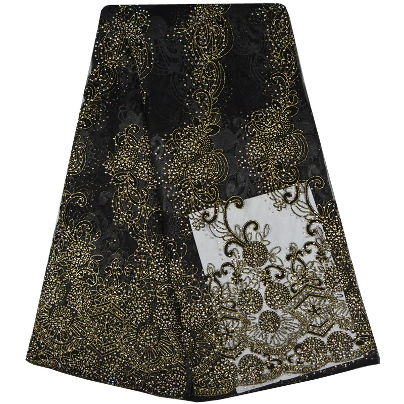 African Tulle Lace Fabric 2017 African French Lace Fabric High Quality With Stones Nigerian Embroidery Tulle
