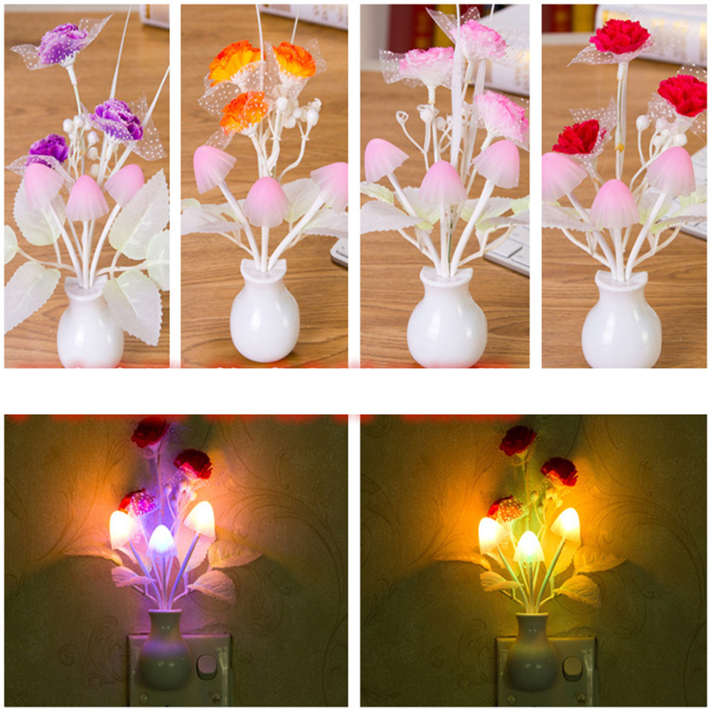 Mushroom Rose Light Sensor Lamp 110V US Plug Colorful Nightlights LED Night Light Lamp Home Bedroom Decoration For Baby Kids
