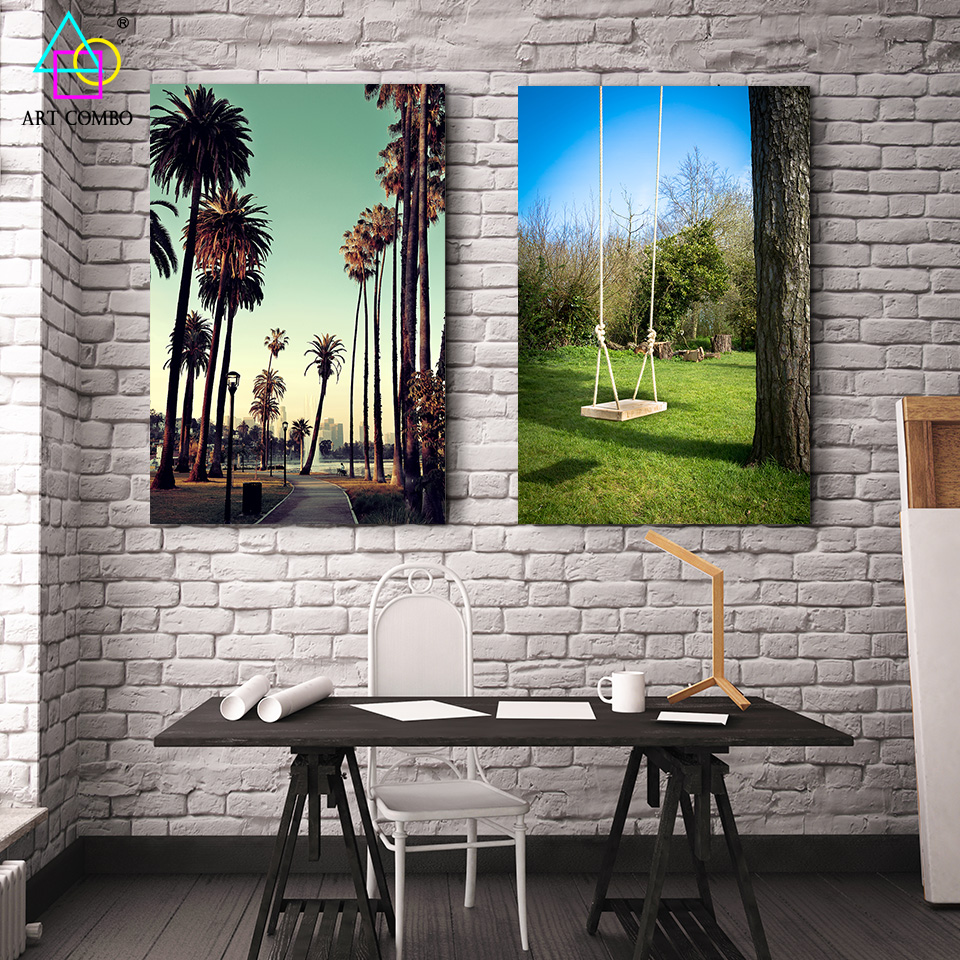 Wall Art For Garden Rooms : Modern landscape painting on canvas swing and trees wall