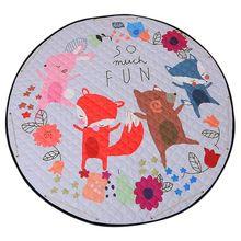 Round Rugs Baby Play Mat Toys Storage Organizer,Nursery Large polyester Anti-slip Cartoon Animal Floor Game