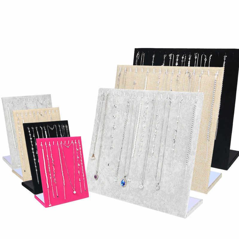 Negro/gris/rosa rojo/Lino COLLAR COLGANTE exhibidor soporte de joyería de las mujeres organizador de almacenamiento caja pulsera pantalla rack