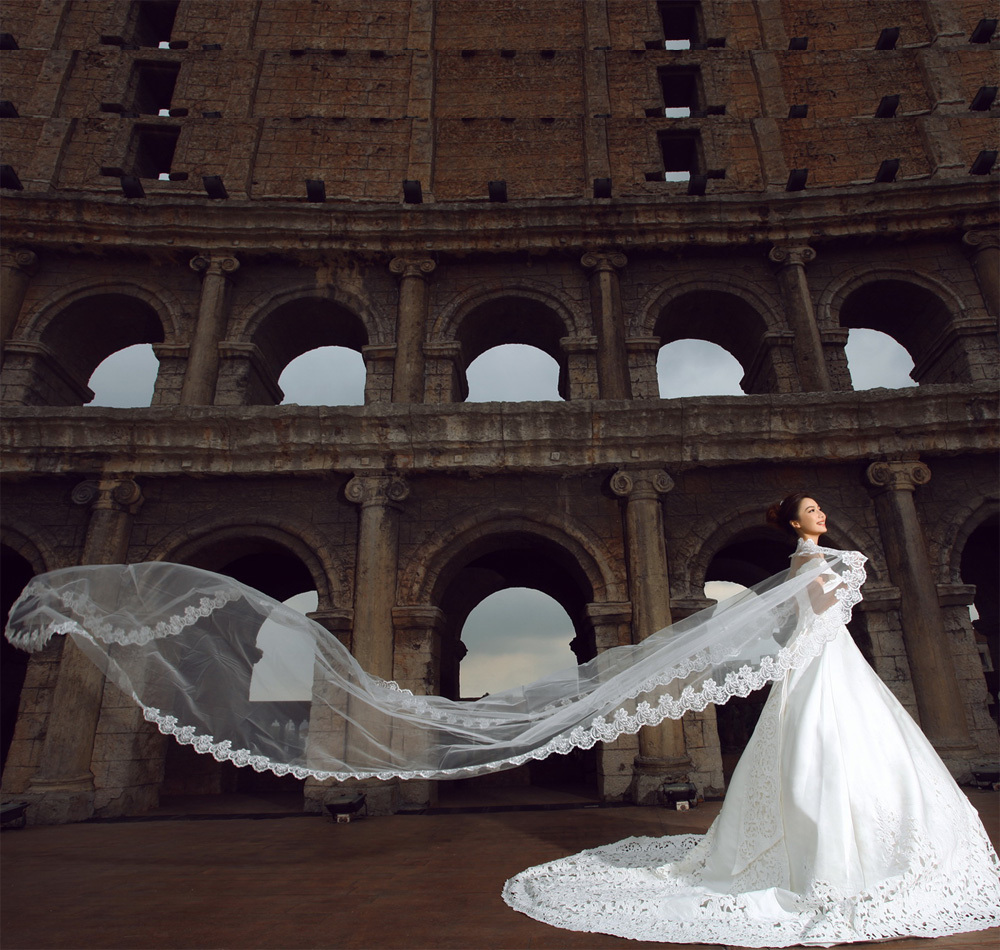 Image 5 - 5 meters Veil  Wholesale Simple Tulle Applique Wedding Veils Bridal Accesories White Wedding Veils Wedding ACCESSORIES OV30225veil bridal5 meter veilveil wedding -