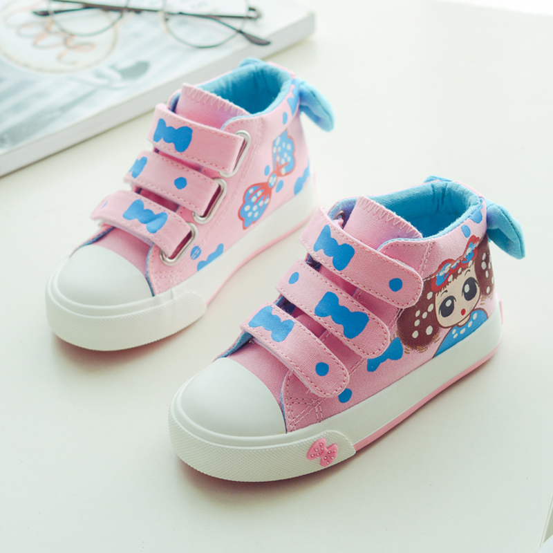 New 2018 Spring Autumn Girls Sneakers Canvas Shoes for Children Cute Polka Dots Kids Shoes Candy Color Girls Princess Shoes
