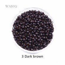 WZSQJN 1000pcs 2.5mm micro nano rings for hair extensions 3 dark brown color