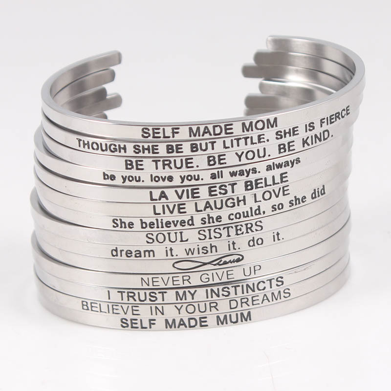 Be The Change 316L Stainless Steel Bangle Cuff Bracelets Mantra Bracelets Bangles for Christmas Gift in Bangles from Jewelry Accessories