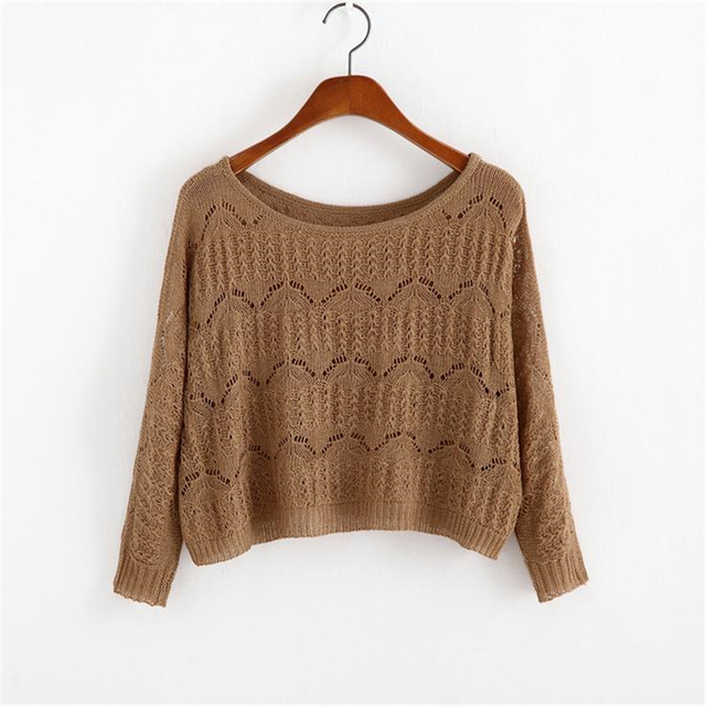 2016 autumn new Women Short Sweater Casual Hollow Out Knitted Sweater Crop Top Long Sleeve  O-Neck Pullover Crop Sweater