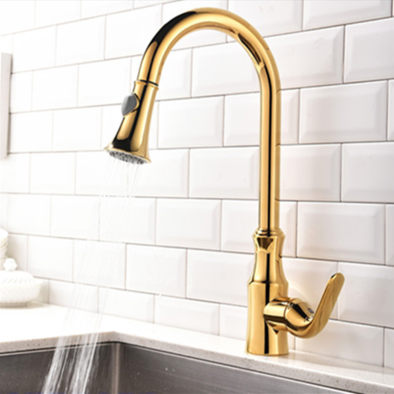 Unique Hot Selling Design Pull out Single Handle Gold Kitchen Faucet Tap Hot and Cold Bathroom