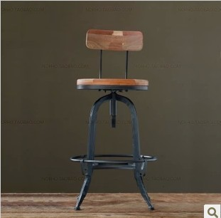 Nordic Expression / Vintage Wood Wrought Iron Furniture / Backrest Bar  Stool Bar Chairs Do The
