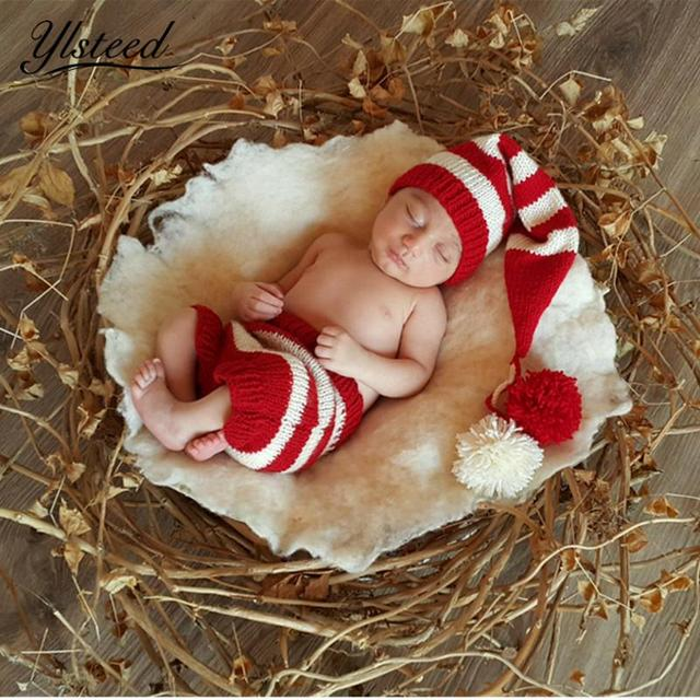 dae85b183 US $10.43 5% OFF|Newborn Photography Costumes Baby Crochet Red Stripe Hat  Winter Cap Pants Set for Photo Shooting Infant Photography Props-in Hats &  ...