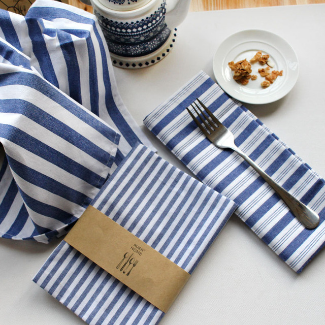 Incroyable Brief Navy Blue Striped Cotton Napkin Kitchen Tea Towels 6 Pcs Restaurant  Table Napkins Dinner