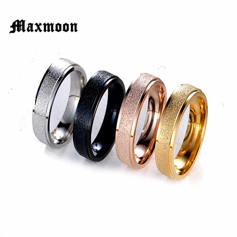 Maxmoon 2018 New Fashion Titanium Steel Ring High Quality Black Rose Gold Silver Color Wedding engagement Rings for Men Women