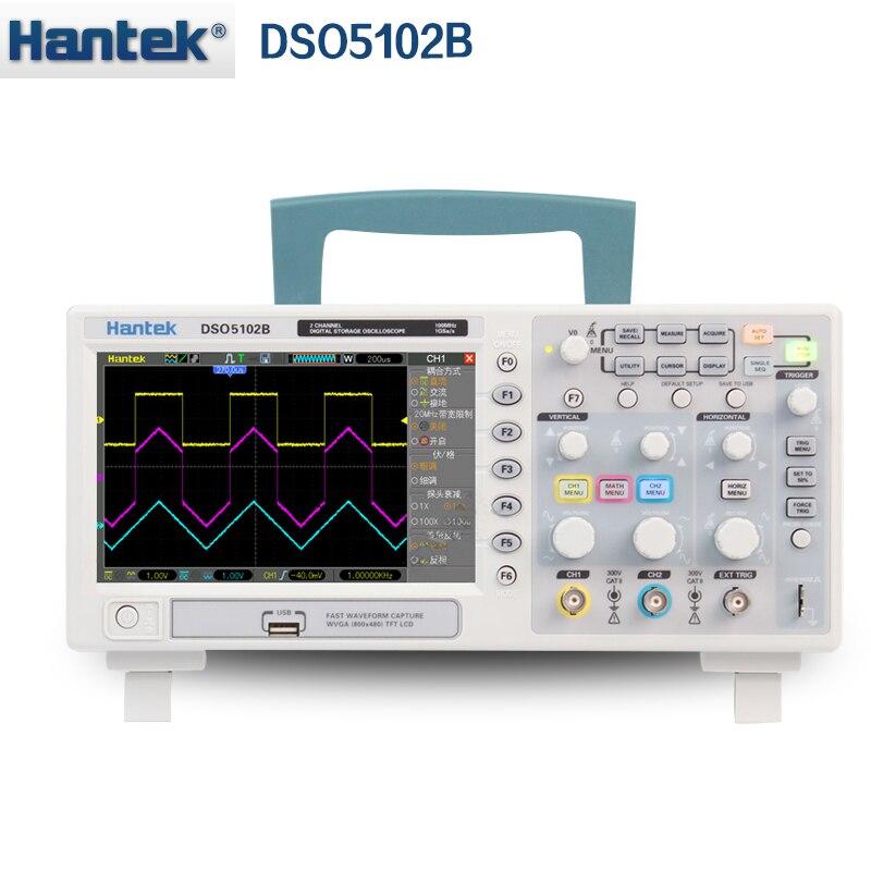 Hantek DSO5102B oscilloscopio a memoria Digitale Da Banco di 2CH 100 mhz Scopemeter 1 m profondità di Memoria 1GSa/s di frequenza di Campionamento migliore than5102P
