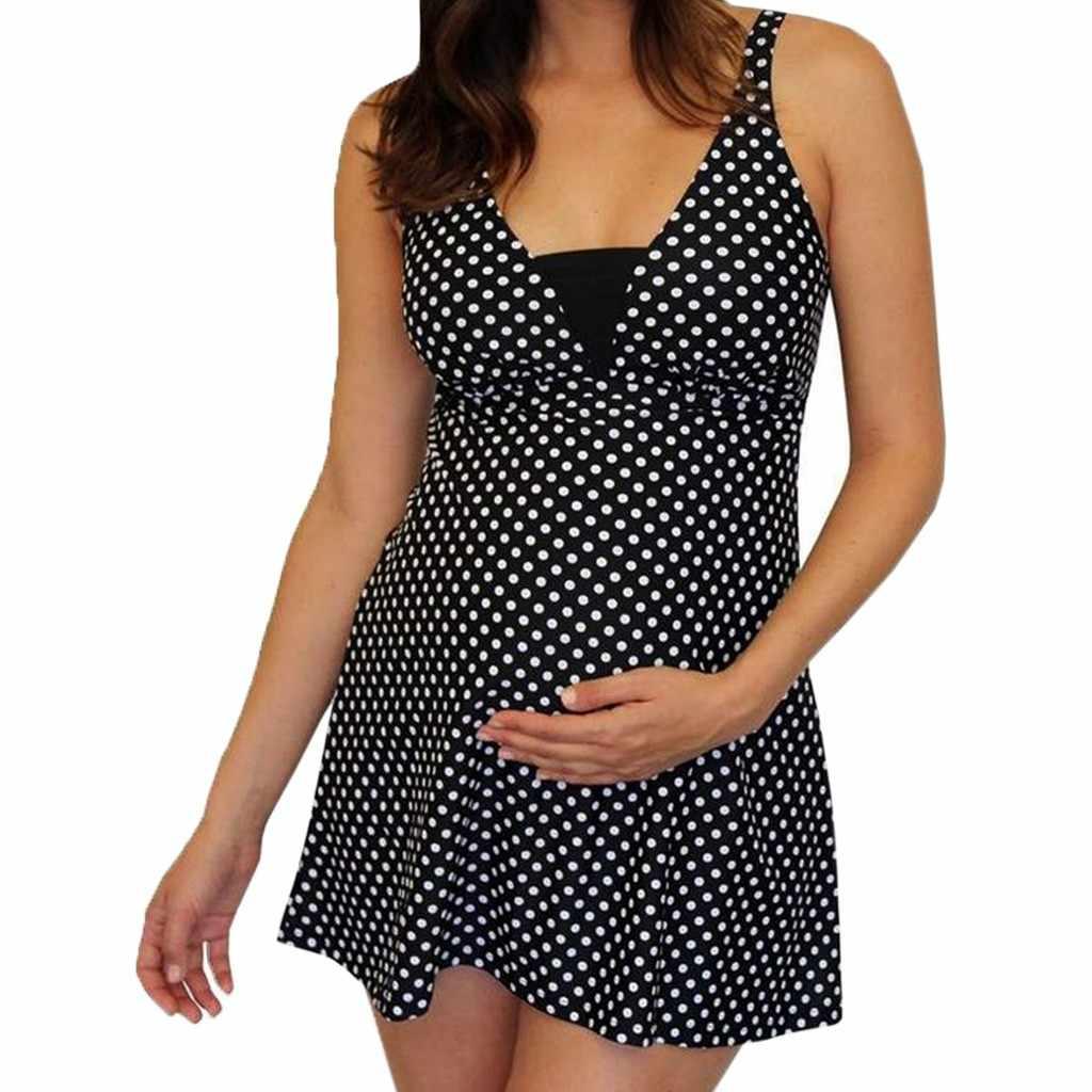 Mode d'été nouvelles femmes Sexy noir à pois maillot de bain imprimer Split Bikini maillot de bain enceinte nouveau Style Sexy maillots de bain a528