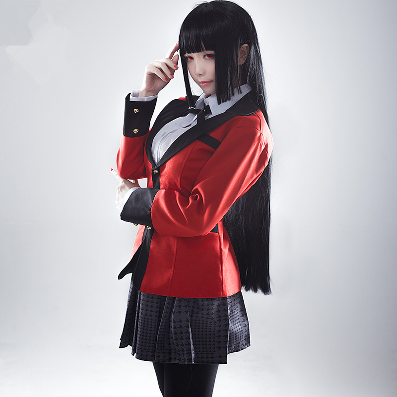 Anime Kakegurui Yumeko Jabami Cosplay Costumes Japanese School Girls Uniform Full Set jacket+shirt+skirt+stockings+tie In Stock