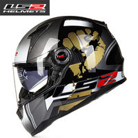 Capacete Motoqueiro Cascos Moto New Hot LS2 FF396 Glass Fiber Full Face Motorcycle Helmet Dual Lens