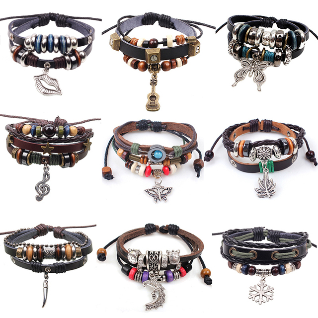 Drop Shipping 2018 Vintage Leather Wood Beads Bracelet Mens Wolf Tooth Pendant Punk Bracelets For Women Men Jewelry Pulseira