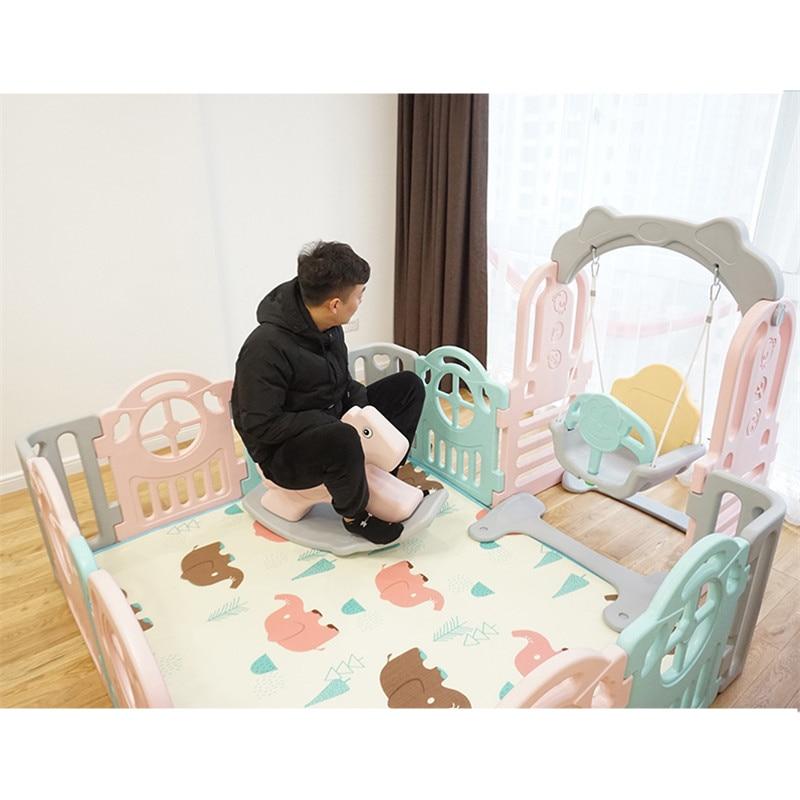 Parc d'attractions intérieur famille accessoires parc de sécurité pour nourrissons épaississement grand cheval à bascule musique en plastique bébé jouet de troie - 6