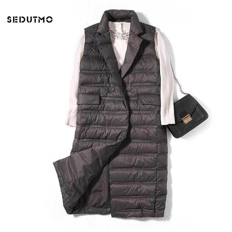 SEDUTMO зима ультра легкий женский пуховый жилет куртки длинный пуховик осенний пуховый жилет Тонкая парка ED523