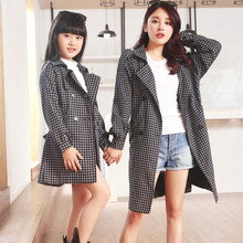 2015 autumn matching mother daughter clothes outfits girl women trench coats female coat jackets family look clothing