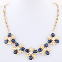 Vintage opal choker Necklace for women girl rhinestone flower Pendant Necklace jewelry Gift