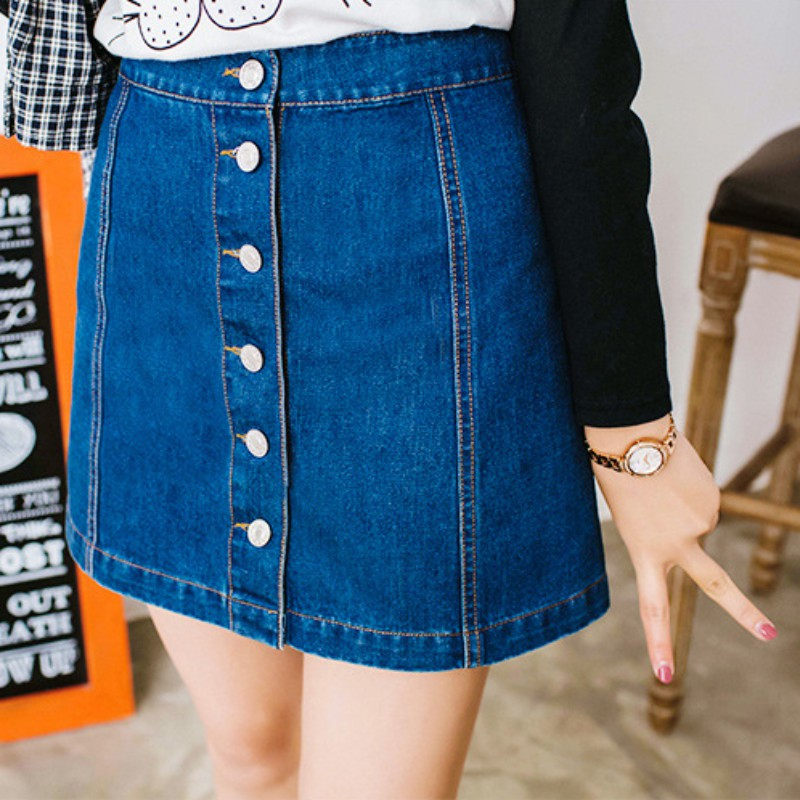 Women A-Line Denim Skirts Single Breasted Jeans Skirts High Quality Jeans Skirts Womens