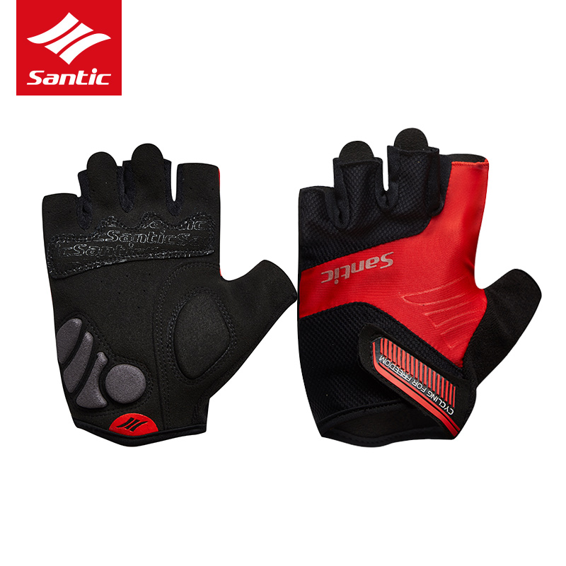 Santic Bicycle Road Race Gloves Men Women Sports Half Finger MTB Mountain Cycling Gloves Summer Bicycle Gloves Ciclismo