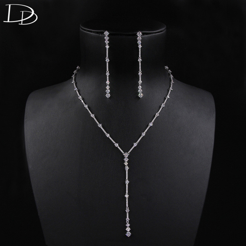 DODO Fashion Women Tassel Earrings For women Shine AAA Zircon Necklace Jewelry Sets For Bridal Anti-allergy Copper Bijoux D15294 a suit of tassel faux zircon necklace and earrings