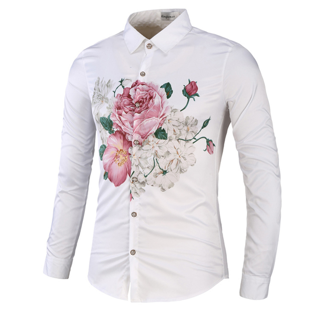 024c8e19a1798a Novelty big Flower Rose print men's shirts full sleeve clothing American  casual young man tops boys Slim fit M-3XL drop shipping