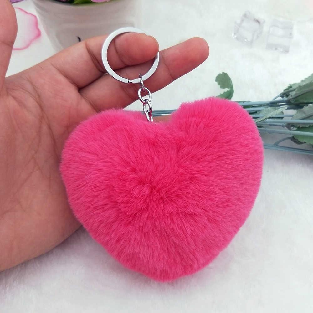 10CM Cute Fluffy Heart Keychains Women s Pom Poms Faux Rex Rabbit Fur Key  Chains Girl Bag 32e69568174b5