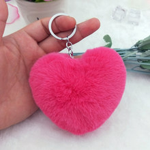 10CM Cute Fluffy Heart Keychains Women's Pom Poms Faux Rex Rabbit Fur Key Chains Girl Bag Hang Car Key Ring Jewelry Accessories(China)