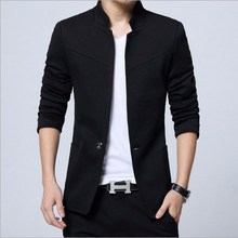 где купить Chinese Collar Mao Suit Jacket Mens Slim Fit Blazer For Men Plus Size Mens Blazers Black Blue Grey Red 3XL 4XL 5XL по лучшей цене